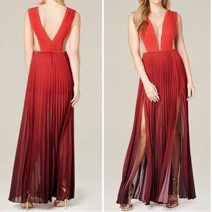 Bebe slit pleated red ombre gown maxi dress